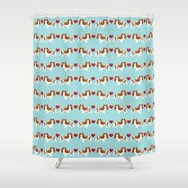 Cavalier King Charles Spaniel blenheim heart dog breed spaniels pet gifts Shower Curtain