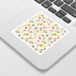 Hand-drawn garden in cream Sticker