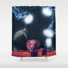 Surreal Dreams about Elephants and Jellyfishes Shower Curtain