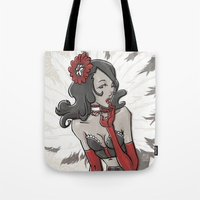 "burlesque Tote Bags featuring BURLESQUE by ""dfrnt"""