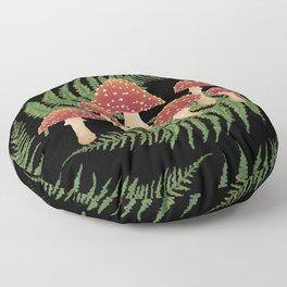 Magic Mushroom Fern Forest Dark  Floor Pillow
