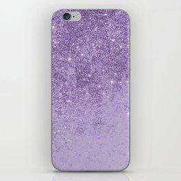 Modern elegant lavender lilac glitter marble iPhone Skin