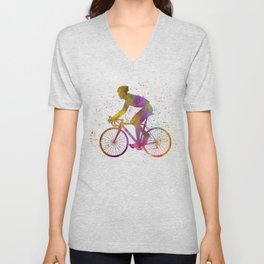 Cyclist competing in watercolor 03 Unisex V-Neck