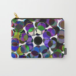 Cluttered Circles III - Abstract, Geometric, Pastel Coloured, Circle Patterned Artwork Carry-All Pouch