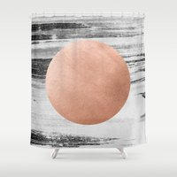 rose gold Shower Curtains featuring rose gold #1 by LEEMO