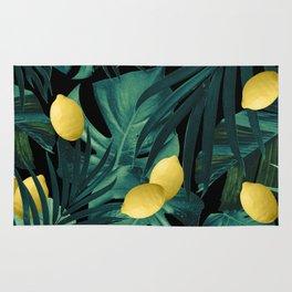 Tropical Lemon Twist Jungle Night #1 #tropical #decor #art #society6 Rug