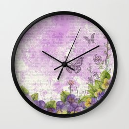 Butterflies and flowers on vintage book texture Wall Clock
