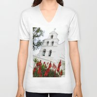 san diego V-neck T-shirts featuring San Diego Mission by Henrik Lehnerer