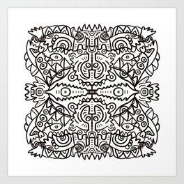 Aztec Disc Mystic Totem Graffiti in Black and White  Art Print