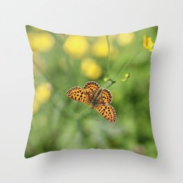 Small pearl-bordered fritillary and buttercups Throw Pillow