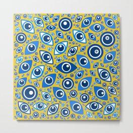Greek Evil Eye pattern Blues on Yellow Metal Print