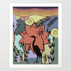 Heron and Sun Art Print