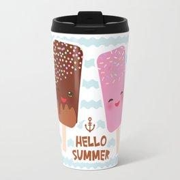 Hello Summer Kawaii ice cream, ice lolly Travel Mug