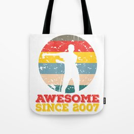"""A Unique Birthday Tee For Celebrations """"Awesome Since 2007"""" T-shirt Design Amazing Beautiful Tote Bag"""