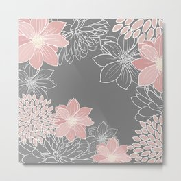 Floral Prints and Line Art, Pink and Gray Metal Print
