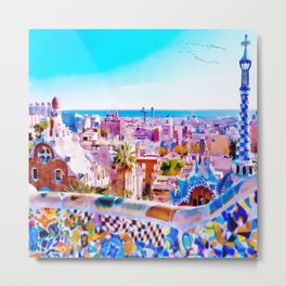 Park Guell Watercolor painting Metal Print