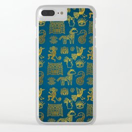 Aztec ancient animal gold symbols on teal Clear iPhone Case