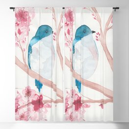 Blue Bird and Blossoms Blackout Curtain