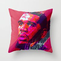 greg guillemin Throw Pillows featuring GREG ODEN MIAMI HEAT by mergedvisible