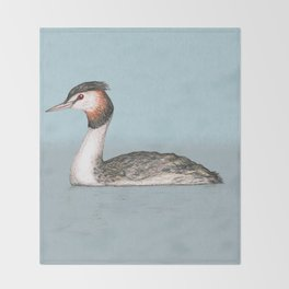 Great crested grebe pencildrawing Throw Blanket