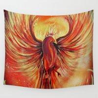 phoenix Wall Tapestries featuring Phoenix by Adamzworld
