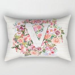 Initial Letter V Watercolor Flower Rectangular Pillow