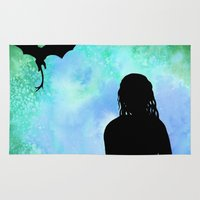 mother of dragons Area & Throw Rugs featuring Mother of Dragons Silhouette over Green + Blue by Jessica Barst