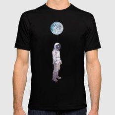 Moon Balloon Black Mens Fitted Tee MEDIUM