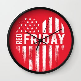 Red Friday Distressed USA Heart Military Wall Clock