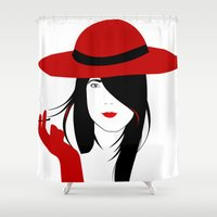 cigarette Shower Curtains featuring A woman with a cigarette by Design4u Studio