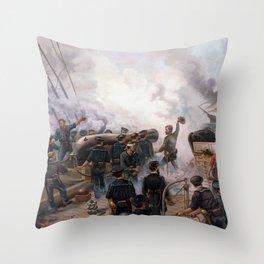 Civil War Naval Battle - Kearsarge And Alabama Throw Pillow