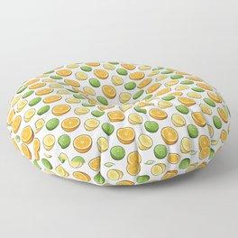 Citrus Medley. Lemon, Lime and Orange Slices on White Floor Pillow