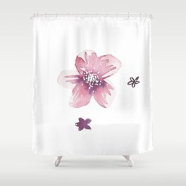 Lilac Pink Watercolour Fiordland Flower Shower Curtain