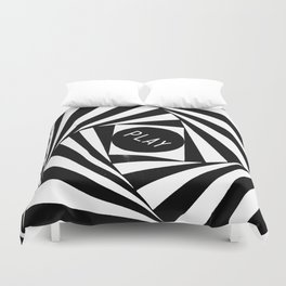 Black and White Twirl (Customizable Label) Duvet Cover