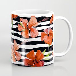 Hibiscus flower and stripes pattern Coffee Mug