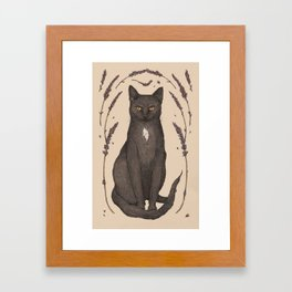 The Cat and Lavender Framed Art Print