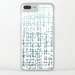 Blue Ombre Crossed Line Pattern Clear iPhone Case