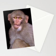 Young Rhesus Macaque Paintover Effect Stationery Cards