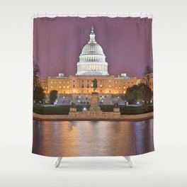 Glowing Washington DC Capitol Shower Curtain