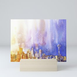 Skyline of downtown Seattle, Washington as viewed from atop Queen Anne Murray Hill.  Seattle artwork Mini Art Print