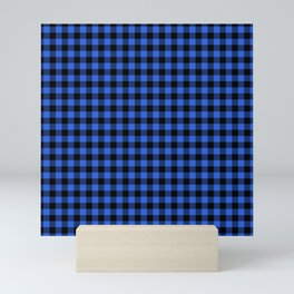 Classic Royal Blue Country Cottage Summer Buffalo Plaid Mini Art Print