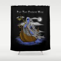 cookie monster Shower Curtains featuring Pay the Cookie Man by SwanStarDesigns