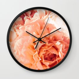 Peach Pink Peony Bunch Wall Clock