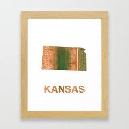Kansas map outline Peru green streaked wash drawing illustration Framed Art Print
