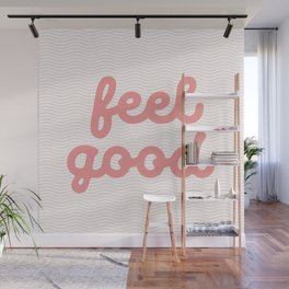 Feel Good cursive typography wall art home decor in peach pink Wall Mural