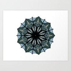 Cool tone mandala Art Print