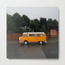 Retro Yellow Camper Van Metal Print