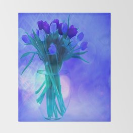 A Blue Bloom for Spring Throw Blanket