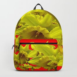 YELLOW SPRING DAFFODILS ON CHINESE RED ART Backpack
