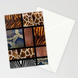 Mondrian animal skin. Tiger, Crocodile, tiger and giraffe skin. Stationery Cards